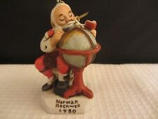 Norman Rockwell Vintage 1980 Santa With Globe Ornament (916N)