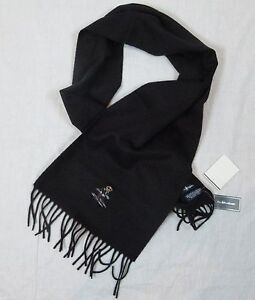 POLO RALPH LAUREN 100% LAMBS WOOL BEAR POLO SCARF BLACK MADE IN ITALY