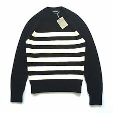NWT $1.2k TOM FORD Mens Black Cream White Nautical Stripe Wool Sweater AUTHENTIC
