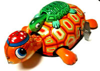VINTAGE TIN LITHO TURTLE W' BABY TURTLE (TORTOISE) ON BACK WINDUP TOY -  JAPAN