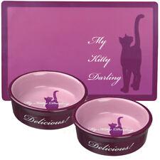 2 x Trixie My Kitty Darling 0.2 l/ø 12cm Ceramic Cat bowls & Matching Placemat
