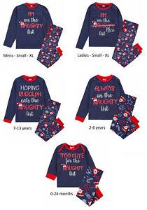 Matching Adult Kids 'Naughty List' Family Christmas Pyjama Set Xmas PJ Nightwear