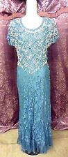 30s Style Dusty Blue Lace Beaded Gown...side buttons sz 36x28x38