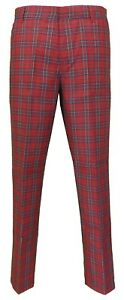 Mens 60s Vintage Retro Mod Checked Red Tartan Skinny Fit Trousers