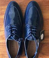 SALE***ZARA Womens Flat Patent Leather Navy Blue  Sz 38 (Label says 7.5)