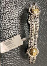 John Hardy Palu Four Satation Bracelet 925 Silver & 18kt Gold