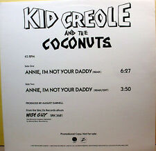 "KID CREOLE - Annie I'm Not Your Daddy - '82 Promo - 45rpm 12"" wave Single - NM"