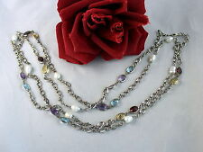 """Sterling Silver Amethyst & Topaz  & Pearl 51"""" 37g  Necklace CAT RESCUE"""