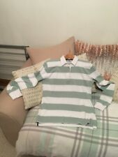 """Ladies Duck Egg & White RugbyTop Measures 42"""" Pit to Pit Length 26"""" Soft Cotton"""
