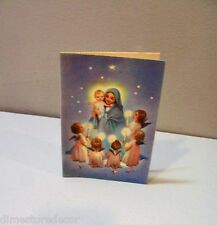 Vtg Christmas Card Rust Craft Mary Baby Jesus Angel Child Candles Bible Verse