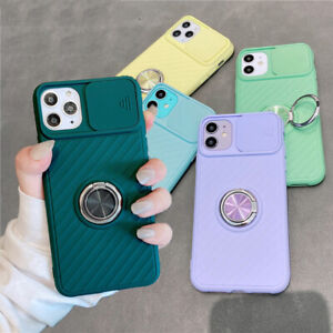 For iPhone 12 11 Pro Max XR XS 8 Slide Lens Protect Ring Holder Soft Case Cover