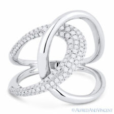 0.61 ct Round Cut Diamond Right-Hand Overlap Loop Fashion Ring in 14k White Gold