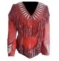 Western Women's Red Cowhide Leather Jacket with Fringe and bone ALL SIZE