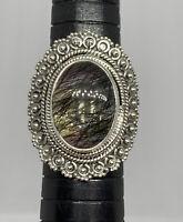 925 Sterling Silver Natural Carbon Rutilated Quartz Cabochon Bali Ring Size 8