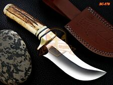 Custom Hand Forged D2 steel Knife stag Horn Handle Fixed Blade Brass bolster