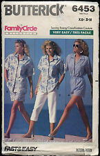 Butterick 6453 Sewing Pattern Misses' Shirt~Shorts~Pants Sizes XS-S-M VTG 80's