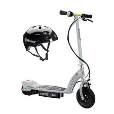 Razor E100 Kids Motorized 24 Volt Electric Powered Ride On Scooter with Helmet