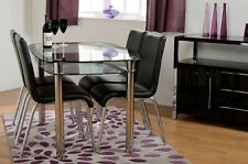 Harlequin Glass Dining Set 4 Chairs Black Silver  Kitchen Table Modern Furniture