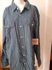 Men's Route 66 Original Co Plaid Shirt Size Large Blue White Long Sleeve NEW