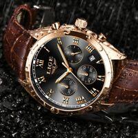Reloj Para Hombres Marca De Lujo Impermeable Casual Cuarzo Banda De Cuero Moda