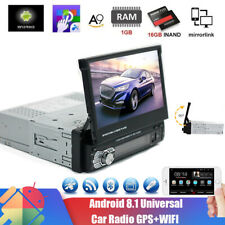 "Single 1Din Android 9.1 Flip Car Stereo Radio 7"" Touch Screen MP5 Player GPS Nav"