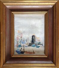 ECOLE FRANCAISE du XXè,F.VALAYER,actif XXè.Village au bord de mer.Collage.17x22.