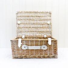 White Wash Large Wicker Storage Basket - Approx 43 x 30 x 19 cm
