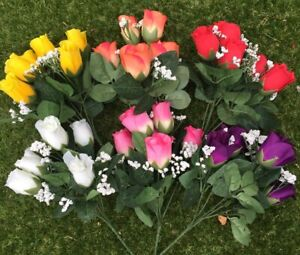 6 Bunches Of Artificial silk Roses Job lot Ideal Home Garden Grave Flowers