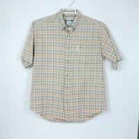 Columbia Mens Medium Shirt Plaid Button Down Short Sleeve Cotton Orange Grey M