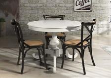 Tavolo rotondo 120 cm. Shabby chic in legno laccato bianco opaco allungabile