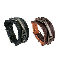 Mens Wide Leather Band Bracelet Watch Buckle Metal Wristband Bangle Black Brown