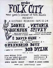 BOB DYLAN REPRO 1961 NEW YORK GERDES FOLK CITY 26 SEPT CONCERT POSTER