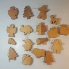 Hand Made Wood  Christmas Ornaments-Set of 17