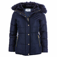 Elle Womens Zoe Full Zip Quilted Fitted Down and Feather Jacket in Navy Blue