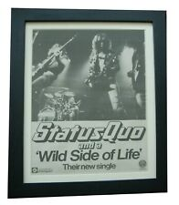 More details for status quo+wild side life+poster+ad+original 1976+quality framed+fast world ship