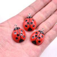 5PC 3D Ladybug/Ladybird Resin Charm Pendant For DIY Kerchain/Keyring Jewelry