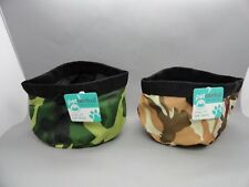 Lot Of 2  Pet Central Pet Bowl For Travel Camouflage Camping Folding Dog Cat