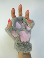 Mitaines peluche fourrure pattes animal chat grises coussinets roses gants