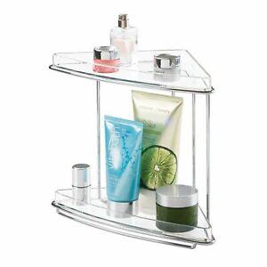mDesign Bathroom Vanity Corner Storage Caddy, 2 Shelves - Clear/Chrome