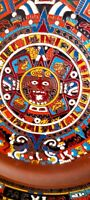Hand Painted Copper Aztec Mexico Oval Enameled Plate Calender Mayan Wall Hanging