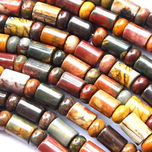 "Natural Colorful Picasso Jasper rondelle Barrel  Loose Bead 15.5"" WW281"
