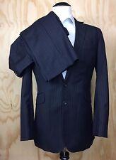 Oliver Spencer Men's Suit 38R UK 42 Jacket Black Wool Purple Stripes Pants 36x33