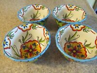SET OF 4 ESPANA BOCCA LIFESTYLE UNLIMITED BLUE FLORAL SWIRL CEREAL BOWLS - EUC