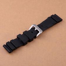 24mm Negro Correa de reloj de goma para Panerais Sub Rubber Watch Strap Band
