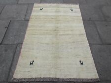 Traditional Tribal Hand Made Persian Gabbeh Oriental Cream Wool Rug 173x114cm
