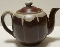 Ceramic Teapot Brown And White Drip Glaze - Made in Japan.