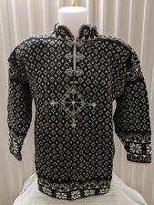 NWT Dale of Norway Hand Knit Wool Sweater - Haukeli Pattern Unisex Size M Black