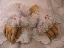 SISSY WHITE LACE BLUE WRIST / ANKLE CUFFS LOLITA KAWAII FANCY DRESS OPT BELLS