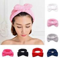 For Girl Pure Color Coral Fleece Bow Hair Band Wash Elastic Makeup Headband P5F7