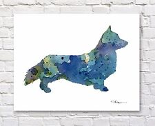 WELSH CORGI Contemporary Watercolor Abstract ART Print by Artist DJR